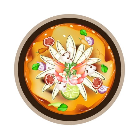 lemon grass: Thai Cuisine, Tom Yum Goong or Thai Spicy and Sour Soup with Shrimps, Mushroom, Coconut Milk and Herbs. One of The Most Famous Thai Soup in The World.