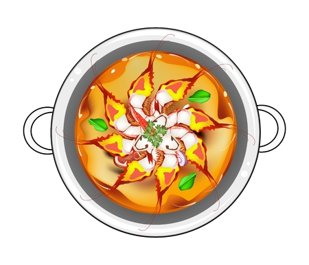 Thai Cuisine, Tom Yum Goong or Traditional Thai Spicy and Sour Soup with Shrimps, Mushroom, Coconut Milk and Herbs. One of The Most Famous Thai Recipe in The World. Illustration
