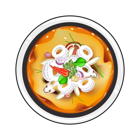 popular soup: Thai Cuisine, Tom Yum or Traditional Thai Spicy and Sour Soup with Squids, Mushroom, Coconut Milk and Herbs. One of The Most Popular Dish in Thailand. Illustration