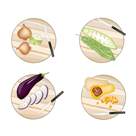 egg plant: Vegetable and Herb, Onions, Balsam Pear, Eggplant and Butternut Pumpkin on Woodeen Cutting Boards.