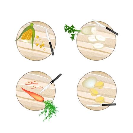 dikon: Vegetal, Ilustración de maíz dulce, rábano blanco, zanahoria y patatas en tablas de madera.