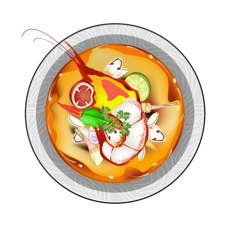 lemon grass: Thai Cuisine, Tom Yum Goong or Thai Spicy and Sour Soup with Shrimps, Mushroom, Coconut Milk and Herbs. One of The Most Famous Food in Thailand. Illustration