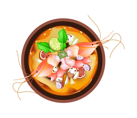 lemon grass: Thai Cuisine, Tom Yum Goong or Thai Spicy and Sour Soup with Prawns, Mushroom, Coconut Milk and Herbs. One of The Most Popular Dish in Thailand.