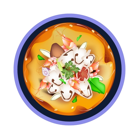 lemon grass: Thai Cuisine, Tom Yum Goong or Thai Spicy and Sour Soup with Shrimps, Mushroom, Coconut Milk and Herbs. One of The Most Famous Thai Recipes in The World. Illustration