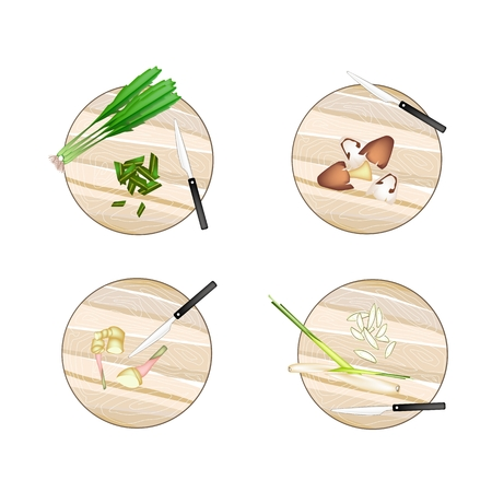 lemon grass: Vegetable and Herb, Illustration of Galangal, Lemon Grass, Straw Mushrooms and Culantro on Wooden Cutting Boards.
