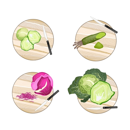 wasabi: Vegetable, Brussels Sprout, Savoy Cabbage, Purple Cabbage and Wasabi on Wooden Cutting Boards.