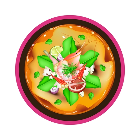 lemon grass: Thai Cuisine, Tom Yum Goong or Thai Spicy and Sour Soup with Shrimps, Mushroom, Coconut Milk and Herbs. One of The Most Popular Thai Soup in The World.
