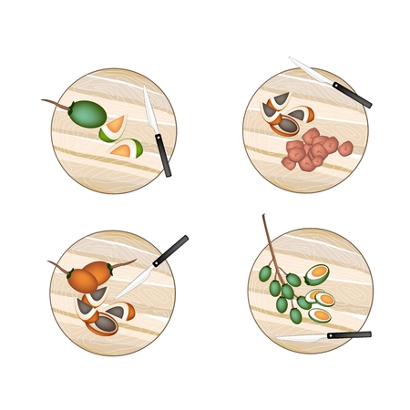 Vegetable and Herb, Illustration Whole and Half Betel Palm Nut or Areca Nut on Wooden Cutting Boards. Ilustração