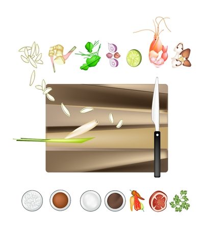 lemon grass: Thai Cuisine, 14 Ingredients Tom Yum Goong or Traditional Thai Spicy and Sour Soup with Prawns. One of The Most Popular Dish in Thailand. Illustration