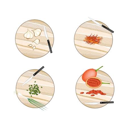 garlic clove: Vegetable and Herb, Illustration of Garlic Bulbs, Saffron Thread, Scallion and Gac Fruit on Wooden Cutting Boards. Illustration