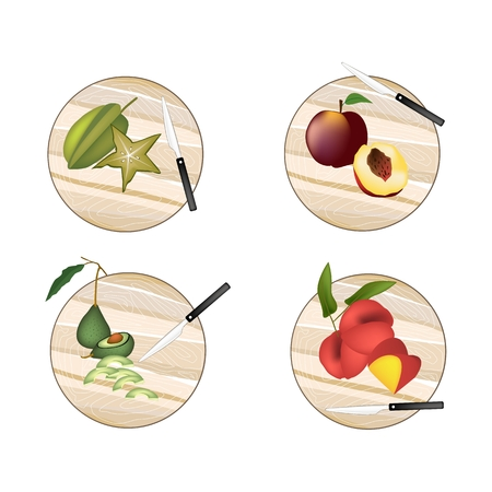 hass: Fresh Fruit, Avocado, Carambola or Starfruit, Peach, Angel Peach on Wooden Cutting Boards. Illustration