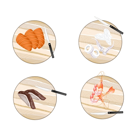 duck meat: Cuisine and Food, Fresh Raw Meat of Duck, Salmon, Prawns and Squid on Wooden Cutting Boards.