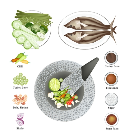 fried shrimp: Cuisine and Food, 10 Ingredients Spicy Shrimp Paste Sauce Served with Fried Mackerel and Vegetables. One of The Most Popular Dish in Thailand.