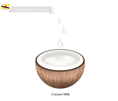 brunei darussalam: Bruneian Cuisine, Fresh Coconut Milk. One of The Most Popular Drink in Brunei Darussalam.