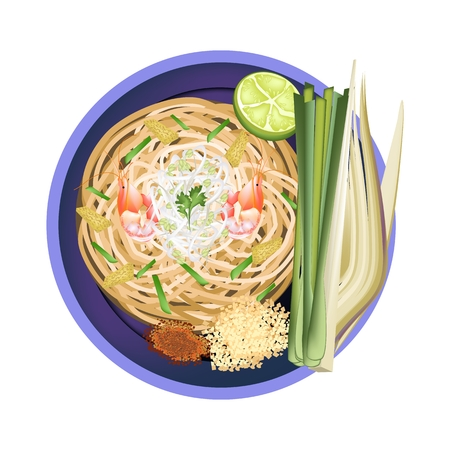 fried noodles: Thai Cuisine, Pad Thai or Thai Traditional Stir Fried Noodles with Shrimps. One of The Most Popular Recipe in Thailand