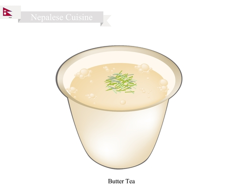 po: Nepalese Cuisine, Po Cha or Milk with Salt, Butter and Hot Water. One of The Most Popular Drink in Nepal.