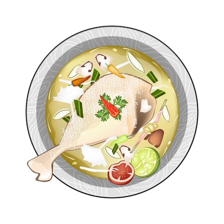 lemon grass: Thai Cuisine, Chicken Tom Yum or Thai Spicy and Sour Soup with Chickens, Mushroom and Herbs. One of The Most Popular Dish in Thailand. Illustration