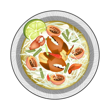 thai herb: Cuisine and Food, Green Papaya Salad with Shrimps. One of The Most Popular Dish in Thailand. Illustration
