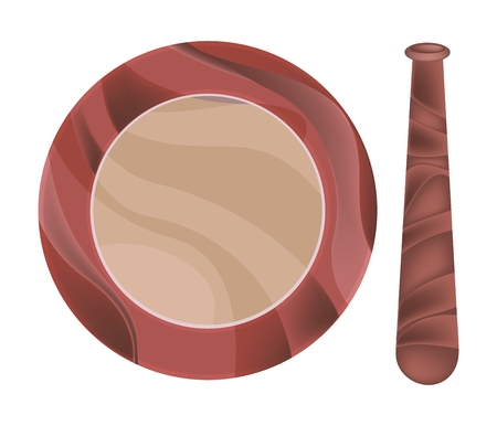crushing: Kitchen Utensil, Wooden Mortar and Pestle Used for Crushing and Grinding.