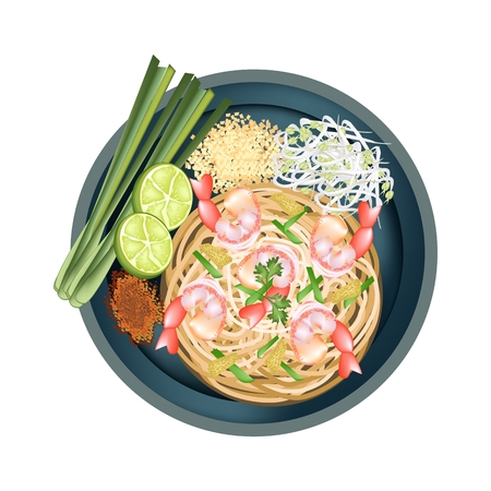 fried noodles: Thai Cuisine, Pad Thai or Thai Stir Fried Noodles with Shrimps. One of The Most Popular Dish in Thailand.