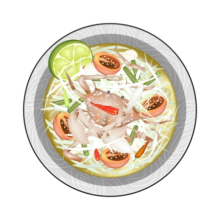 thai herb: Cuisine and Food, Plate of Green Papaya Salad with Fermented Blue Crabs. One of The Most Popular Dish in Thailand.