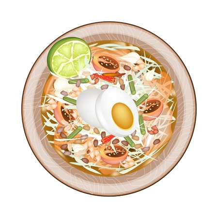 thai herb: Cuisine and Food, Plate of Green Papaya Salad with Fermented Salted Egg. One of The Most Popular Dish in Thailand.