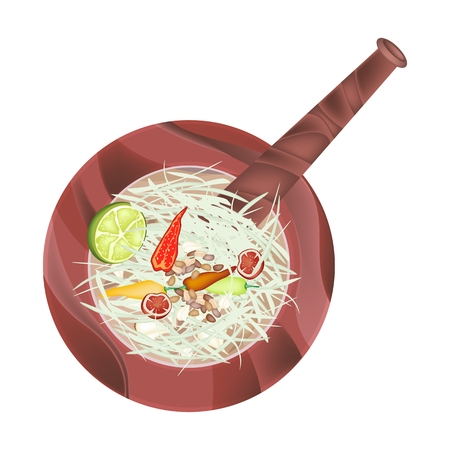 green papaya salad: Cuisine and Food, 5 Ingredients Green Papaya Salad Recipe in Wooden Mortar Isolated on White Background. Illustration