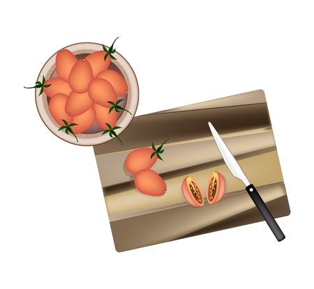 wood cross section: Vegetable, Illustration of Delicious Juicy Red Ripe Grape Tomatoes on Wooden Cutting Board with Knife.