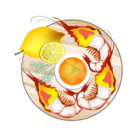 shrimp cocktail: Seafood, Grilled Giant Prawn Served with Lemon Slices and Butter Sauce Isolated on White Background. Illustration