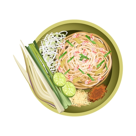 fried food: Thai Cuisine, Pad Thai or Thai Traditional Stir Fried Noodles with Shrimps. One of The Most Popular Food in Thailand. Illustration