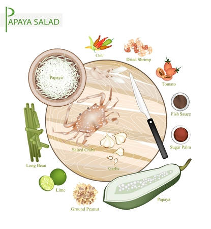 green papaya salad: Cuisine and Food, 12 Ingredients Green Papaya Salad with Fermented Blue Crabs and Dried Shrimps. One of The Most Popular Dish in Thailand.
