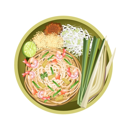 fried noodles: Thai Cuisine, Pad Thai or Thai Traditional Stir Fried Noodles with Shrimps. One of The Most Popular Dish in Thailand. Illustration