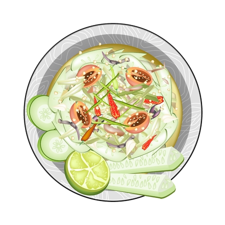 thai herb: Cuisine and Food, Plate of Cucumber Salad with Fermented Salted Crabs. One of The Most Popular Dish in Thailand.
