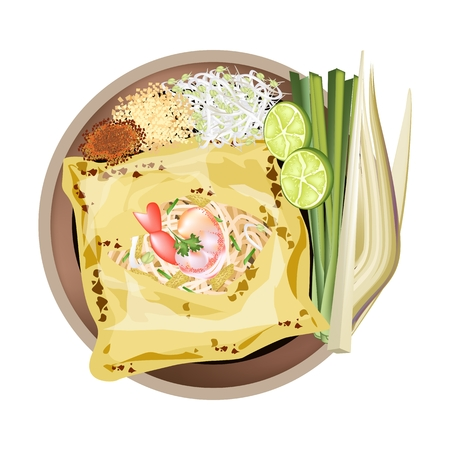 Thai Cuisine, Pad Thai or Thai Stir Fried Noodles Wrapped white Omelet. One of The Most Popular Recipe in Thailand.