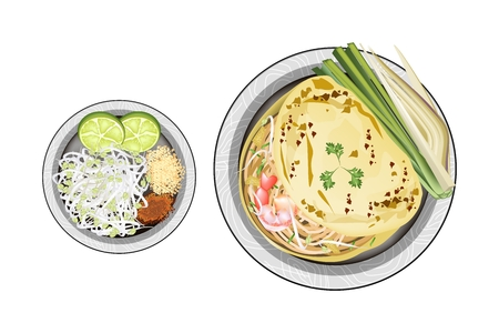 fried noodles: Thai Cuisine, Pad Thai or Thai Stir Fried Noodles Wrapped with Omelet. One of The Most Popular Dish in Thailand. Illustration