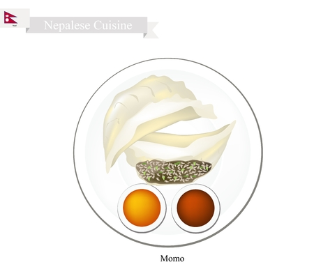 Nepalese Cuisine, Illustration of Momo or Steam Dumplings Served with Tomato Sauce and Spicy Sauce. One of Most Popular Dumplings in Nepal.