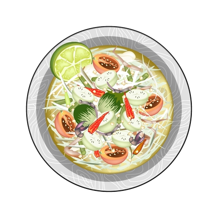 green papaya salad: Cuisine and Food, Plate of Green Papaya Salad with Green Eggplants and Fermented Salted Crabs. One of The Most Popular Dish in Thailand.