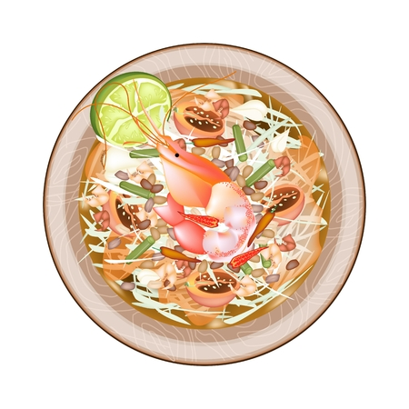green papaya salad: Cuisine and Food, Green Papaya Salad with Shrimps. One of The Most Popular Dish in Thailand. Illustration