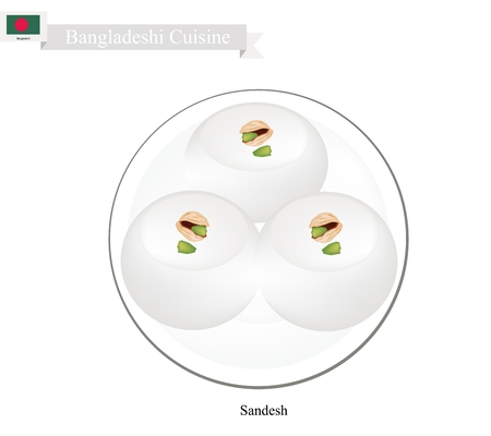 Bangladeshi Cuisine, Sandesh or Traditional Dessert Made of Cottage Cheese and Sugar Topping with Nuts or Dried Fruits. One of Most Popular Desserts in Bangladesh.