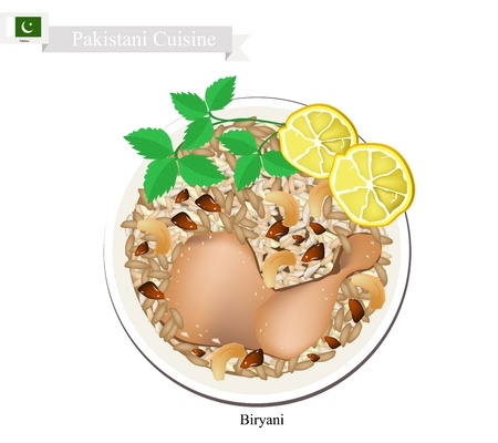 seasoned: Pakistani Cuisine, Chicken Biryani or Basmati Rice Seasoned with Chicken and Spice. A Popular Dish in Pakistan. Illustration