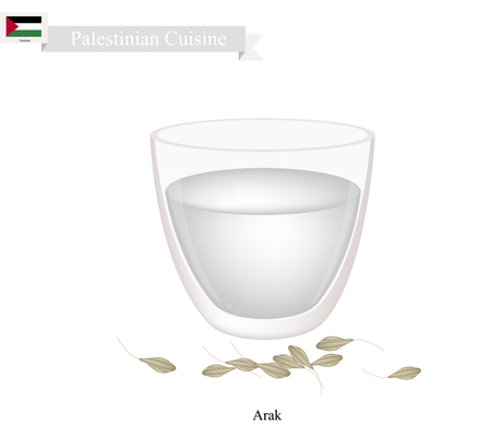 brandy: Palestinian Cuisine, Arak or Traditional Clear Brandy Flavored with Anise. One of The Most Popular Drink in Palestine. Illustration