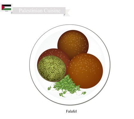 deep fried: Palestinian Cuisine, Falafel or Traditional Deep Fried Ball Made Form Chickpeas and Spices. One of The Most Popular Dish in Palestine.