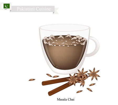 chai: Pakistani Cuisine, Masala Chai or Traditional Black Hot Sweet Tea with Spices. One of The Most Popular Beverage in Pakistan. Illustration