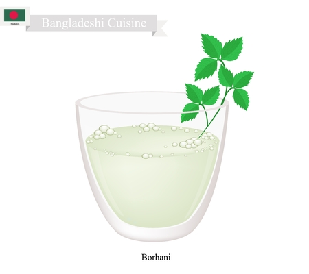 Bangladeshi Cuisine, Borhani or Salted Mint Lassi or Salted Yogurt Drink with Mint. One of The Most Popular Drink in Bangladesh. Illustration