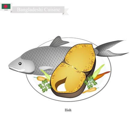 Bangladeshi Cuisine, gebakken Ilish Fish gekruid met zout en kerriepoeder. Een van A Meest populair gerecht in Bangladesh.