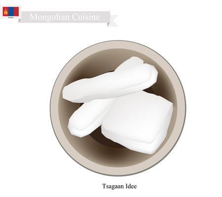 turkish dessert: Mongolian Cuisine, Tsagaan Idee or Dried Curd Cheese Made of Fermented Milk. One of The Most Popular Drink in Mongolia.