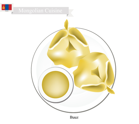 Mongolian Cuisine, Buuz or Dumpling Made of Dough Stuffed with Minced Meat. One of The Most Popular Dish of Mongolia.