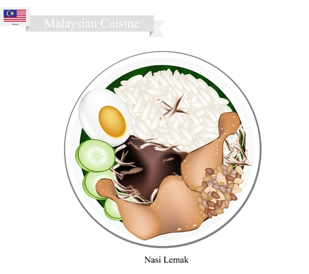 lemak: Malaysian Cuisine, Nasi Lemak or Steamed Rice Cooked in Coconut Milk Served with Fried Chicken, Boil Egg, Anchovies, Peanut and Cucumber, The National Dish of Malaysia.
