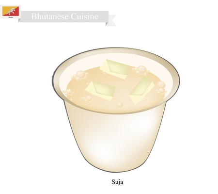 po: Bhutanese Cuisine, Suja or Butter Tea Made From Churning Tea, Salt and Yak Butter. One of The Most Popular Drink in Bhutan. Illustration