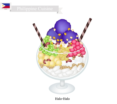 Philippine Cuisine, Halo Halo or Traditional Shaved Ice, Milk with Various Fruits and Beans. One of The Most Popular Dessert in Philippines.